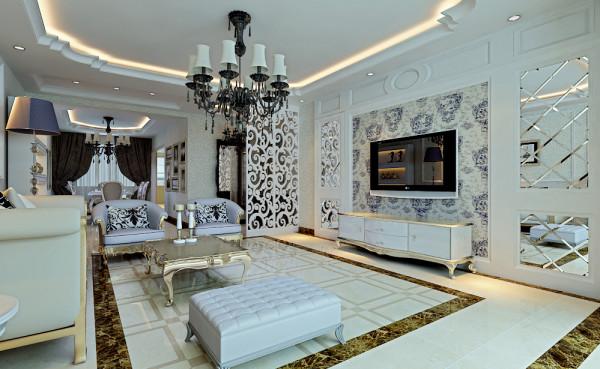 客厅以白色为主体,高贵典雅的感觉浮现出来,给人一种时尚华丽的感觉。