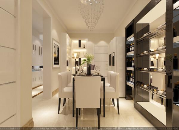 空间的色调转向了暖色调,灯光选用的是柔和的米色,通过餐边柜镜面的反射烘托出整个餐厅的温馨的气息,让进餐的客人们增加食欲,黑白色的空间正适合深邃的思索。