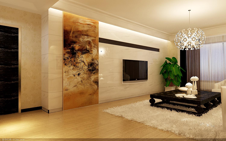 电视背景墙选用洁净高雅爵士白大理石整面铺贴.