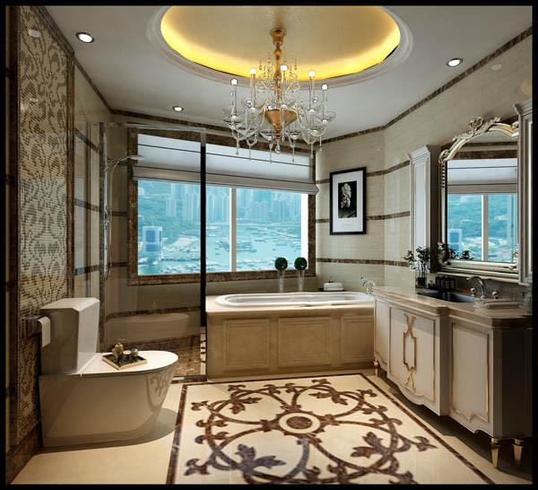 3卫生间:米黄色主砖配咖色砖做拼花,防水石膏板吊顶加金箔壁纸。