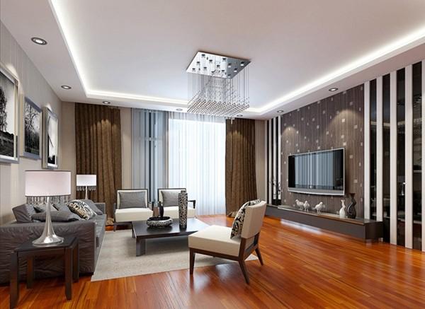 济南实创装饰装修-名泉春晓二期135平米-现代简约风格装修案例效果图-客厅设计