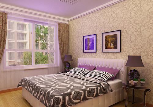 主卧采光较为充足,延续了客厅的设计风格,简单石膏板吊顶,以淡雅别致的色调为主,创造柔和宁静的气氛。
