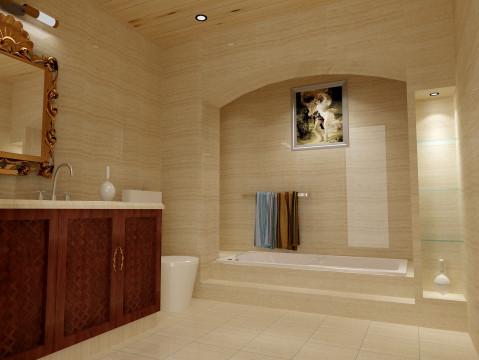 卫生间功能分区明显,对于沐浴这块有点别出心裁,营造出一种贵族范