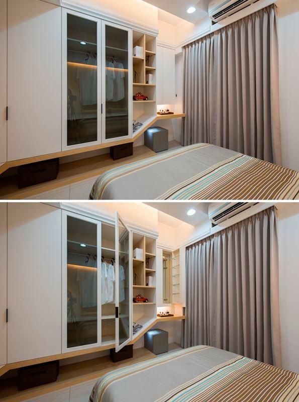 将柜体与化妆桌/书桌结合,用现代感的折线来展现设计师精湛的木作工艺。