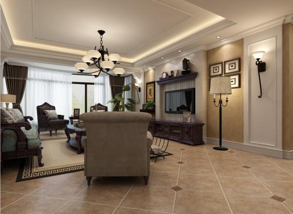 白色吊顶搭配美式家具,暖色的仿古大地砖,使整体客厅整洁大方,不会给人厚重沉闷的感觉。