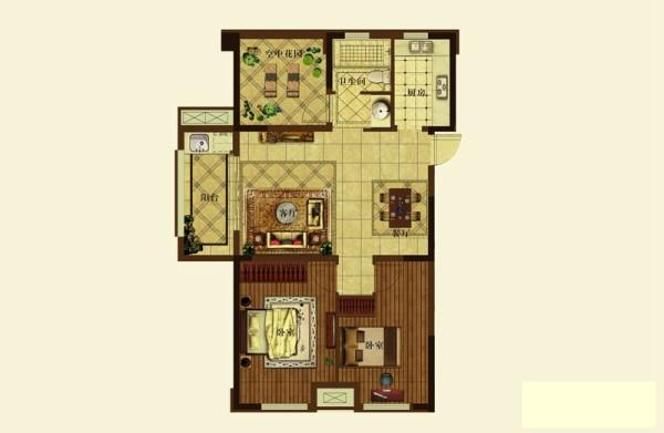 金辉枫尚-田园风格-两居室装修-户型图