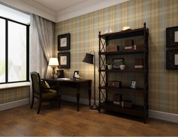 书房整体以格子为背景,美式的书桌和简约的美式书柜,摆上业主喜欢的书籍和一些花花草草,是修生养性的好去处。