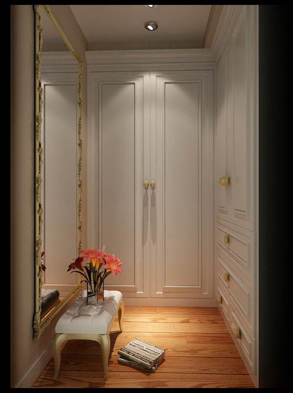 4米色地砖配欧式吸塑米白色橱柜及白色门。