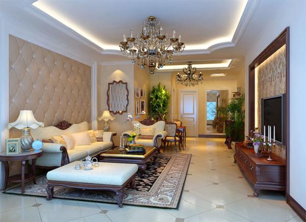 客厅实木家具体现奢华与品味设计理念:客厅电视墙以简单石膏板欧式造型及实木线条突现出整体效果, 简洁而又不失高雅。石膏板吊顶以欧式曲线为主,形成空间的错落感,并不破坏空间的整体通透。