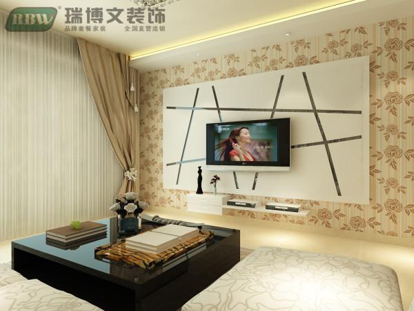 电视墙铺贴壁纸,温馨大方,石膏板搭配玻璃造型,使电视墙立体感增强,搭配条形灯带,使整个空间简洁、大方,富有节奏韵律。