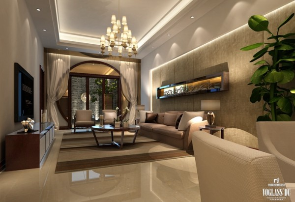 地下起居室是整个别墅空间中中式元素最多的空间。窗纱、孔型门洞、圈式茶几等诠释了中式元素的精髓,保留了材质、色彩的大致风格,强烈反映出到浓郁的东方之美。