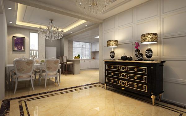 豪华的餐厅 设计理念:该户型的餐厅采光比较好;本身面积比较大,再配合上开放式厨房,空间感也属于上佳。
