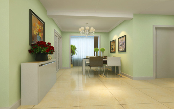 清新自然的餐厅 设计理念:该户型的餐厅采光比较好,设计简约而不失亮点,淡绿色的墙面与线条简洁的餐桌表现出浓郁的现代气息,而色彩与客厅遥相呼应。