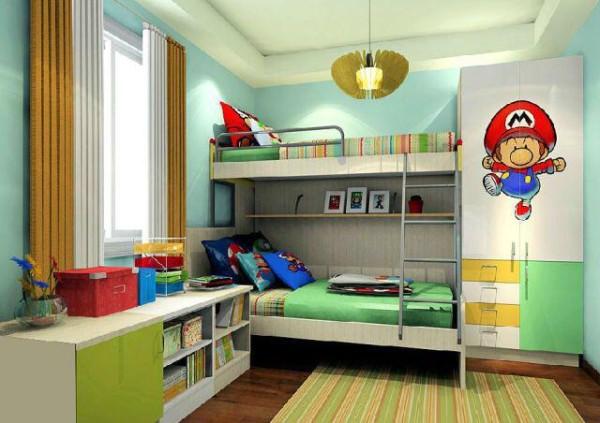 马里奥兄弟时光 石黄门板及翡翠绿门板,英伦白橡及象牙白板材的搭配,再加上蓝绿色的墙纸及天花板,书桌与矮柜结合,高低错落的吊柜,让整个儿童房空间显得明亮、跳跃,充分体现儿童房的趣味性。