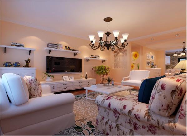 客厅电视墙简洁明快的客厅设计理念:客厅整体突显出一种简洁明快之感,电视背景墙运用隔板的设计,在配以带有古典气息的吊灯,使得整个空间有光影之舞。