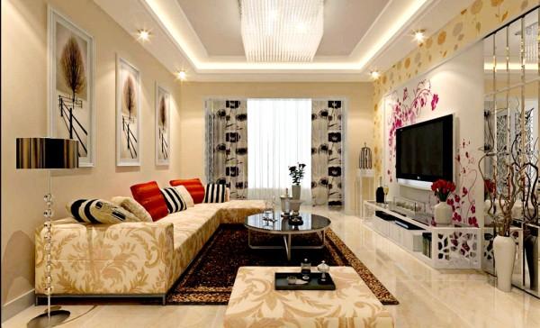 此户型为三口之家,风格定义为现代简约风格。客厅空间平和, 选材上也多取舒适、柔性、温馨的材质组合,可以有效地建立起一种温情暖意 的家庭氛围。