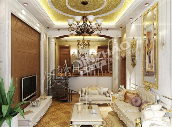 【设计说明】:本案主欧式风格,会给人以豪华,大气,奢侈的感觉,在色彩上,经常以白色系或黄色系为基础,搭配深棕色、金色等,表现出欧式风格的华贵气质。