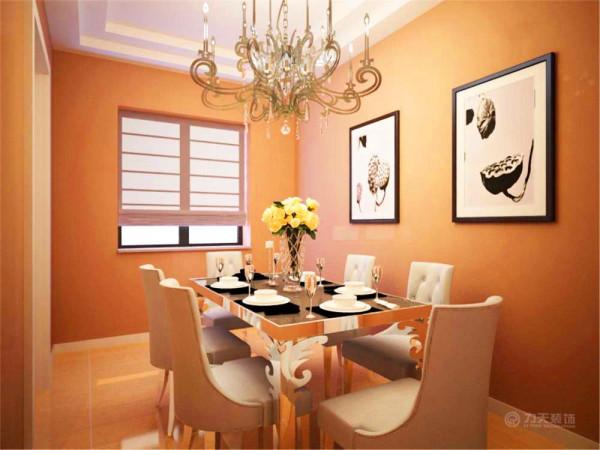 餐厅空间的墙面选择奶咖色的墙面漆,顶面是两层的石膏板吊顶,配有漂亮的铁艺吊灯。