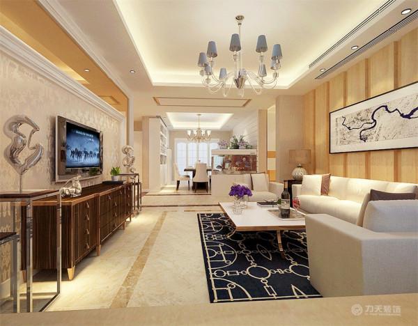 沙发背景墙使用原木造型进行装饰使空间更加具有自然气息,电视背景墙采用石膏线圈边中间放茶镜和壁纸进行点缀,使空间看起来更加明亮。
