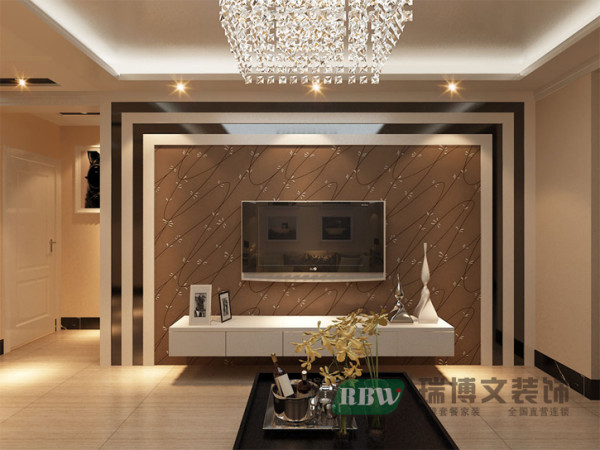 电视背景墙有两个设计,一个是茶镜与石膏板的结合,造型简单大方,深色壁纸打底,给人一种安稳的感觉。客厅走回字形条形顶,安装筒灯,留有灯带,富有层次感。