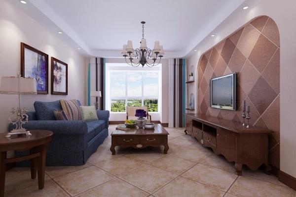 客厅整洁舒适,电视背景墙采用仿古大地砖上墙的设计,即经济省钱,又美观大气。