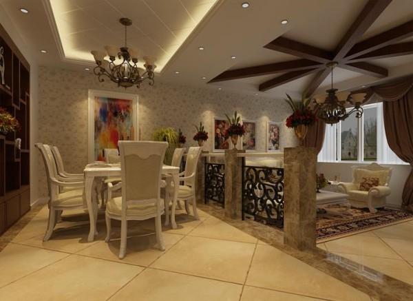 白色的餐桌餐椅是田园风格典型的家具色系,背景墙用一幅抽象画作为装饰,也突出了业主与众不同的品位。