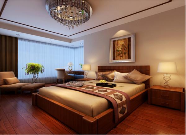 【成都实创装饰】东南亚风格—三居  幸福的三口之家—整体家装—卧室装修效果图 东南亚风格的床头和现代风格的台灯让空间不失浪漫,而是别有一番韵味。在配以各种水晶配饰、绿色植物更加显得业主低调内敛。
