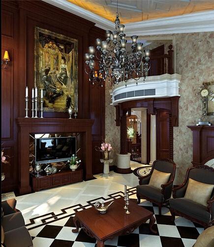 欧式装修设计说明:欧式风格强调以华丽的装饰、浓烈的色彩、精美的造型达到雍容华贵的装饰效果。欧式客厅顶部喜用大型灯池,并用华丽的枝形吊灯营造气氛。