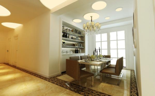 餐厅拥有独立的空间,餐厅和厨房之间用推拉门隔了起来,背景墙做成了储物柜,放置一些酒类或者艺术品都体现了主人的情调。