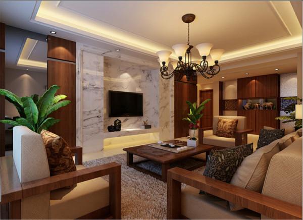 【成都实创装饰】东南亚风格—三居—整体家装—客厅装修效果图 客厅整体突显出一种豪华大方的贵族之感,电视背景墙运用大理石的设计,两边配以胡桃木做装饰,电视机嵌入式。