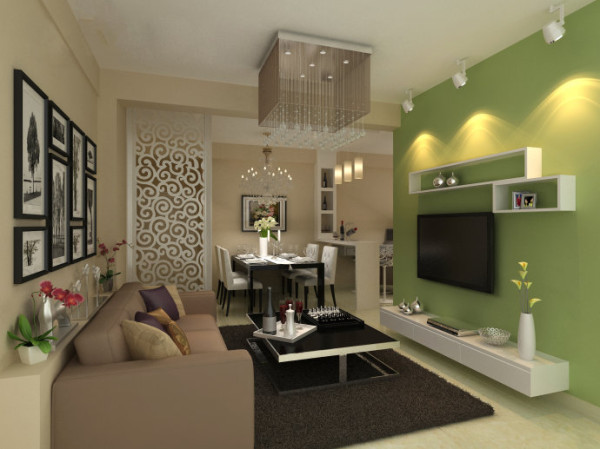 设计理念:背景墙的处理非常简单,在原有的墙面直接刷草绿色的乳胶漆,及简单的装饰层板,沙发背景则选用奶茶色乳胶漆惬意。