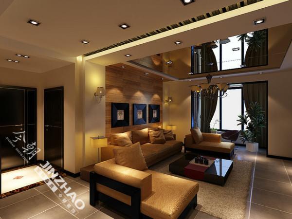 空间的线条以直线为主,彰显现代风格空间的利落;灰色亚光地砖,黑色木门及套线以及灰色条纹壁纸,茶色玻璃吊顶等彰显现代风格的时尚气息;木色的背景墙以及米色布料沙发,使得现在时尚的空间更增添了一丝温意。