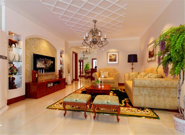 整体色调以暖色调为主,墙面以米色墙漆为背景色配以深棕色家具及深黄色花纹布料做主体色,休闲气息中不失雅致。半嵌入式壁龛设计展示收藏品表达业主对生活的热爱。
