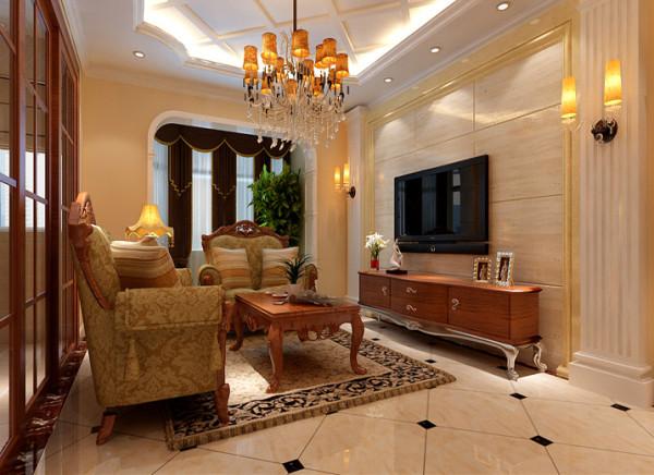 把厨房门改成开放式推拉门,整个客厅空间彰显大气,在用古典欧式元素点缀,文美结合。