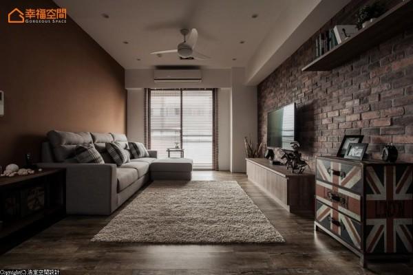 九种漆彩的组合,在客厅公领域中以咖啡色对应上砖红表现,体现另类粗犷与细腻。