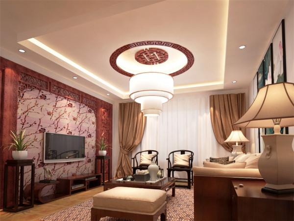 本案设计风格属于新中式,新中式是传统和现代的融合,同时整体空间处处渗透着中华文化的气息,也是人们对于生活回归的一种情愫。从客厅及餐厅能够非常明显的看出电视背景墙的梅花