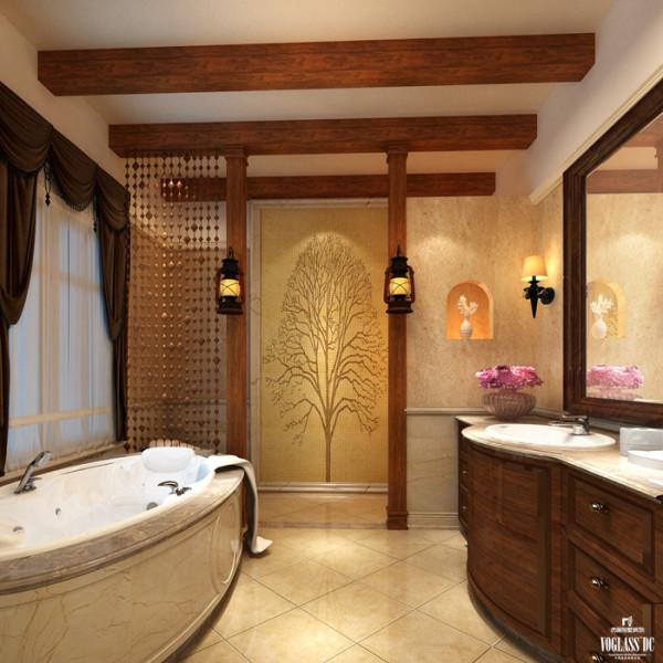 卫生间地面及部分墙面运用了天然大理石做饰面,显示豪气尊贵;而煤油灯和原木的加入展现了传统的英式元素,珠帘则是中式元素的变形