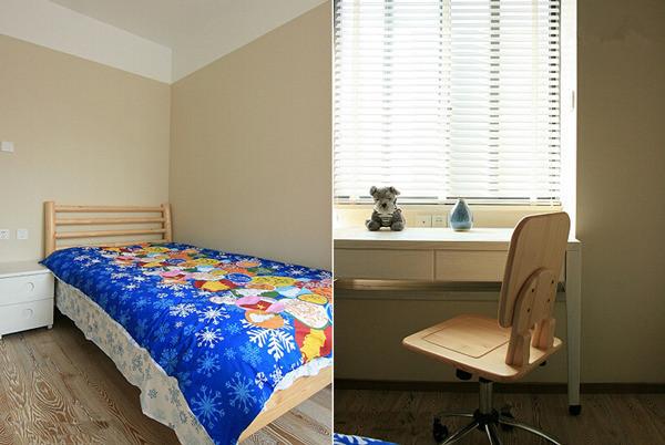 儿童房在木制家具的基础上采用了简约的设计。