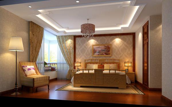 典型欧陆情结的金色富贵纹饰壁纸附于墙上,搭配中式风格的上水画和素色睡床流露出一种温柔地高贵。中西结合的高贵、大气,在灯光的下反射出雕刻的光芒,细腻的暗花清晰可见。