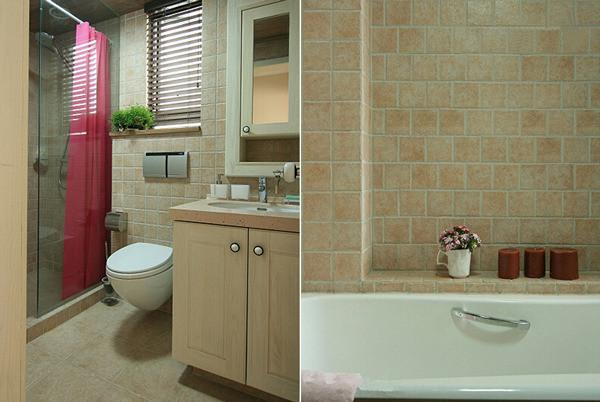 家里设有两个卫浴空间,左图的为公共卫浴空间,右图的为主卧浴室。同样以淡黄色的地砖、 墙面砖、柜体打造而成,配合全屋的基本色调。再在浴室的小窗台上放上些小盆栽,让整个 卫浴空间变得更加轻松写意。