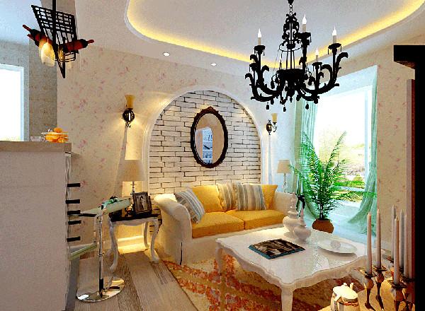 田园风格,自然纯朴又不失高雅,整个客厅电视背景墙采用了白色文化石,做了田园风格具有的拱形背景墙设计。其它用壁纸来衔接,花色壁纸非常温馨浪漫。家具的选色也多为白色为主,干净整洁又带有绿化的客厅。