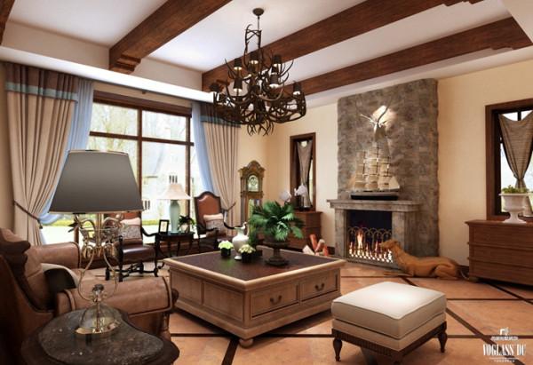 客厅经过精心布置,与壁炉背景相结合,使宁静为主的客厅增添一丝生动,更通过突出别墅配饰自身的魅力展示主人的富足和品位