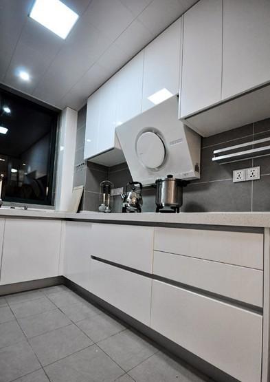 白色烤瓷橱柜搭配灰色瓷砖,展露出低调的时尚风范。