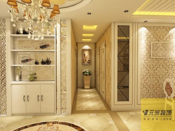 餐厅:餐厅餐桌墙用欧式壁纸结合现代简约的材质,表现出干净舒适的用餐空间。