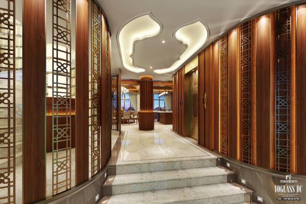 与门厅正对的是条通往餐厅的过道,左右两边中式古典风格的窗格别具韵味,透过这些镂空的窗格,仿佛给其他空间也增加了一层神秘感。