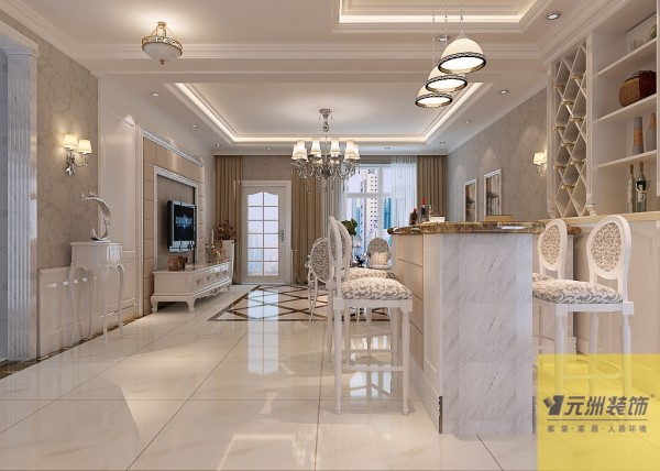 餐厅:餐厅配以欧式罗马柱 神色地面拼花,来与整个空间完美的融合
