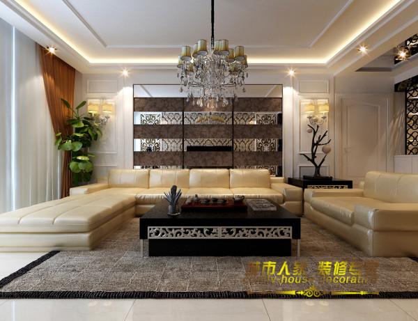 沙发背景墙的设计依旧延续前者的对称形式,背景的设计中若隐若现的暗纹壁纸与亮光的镜面相衔接,彰显出低调但华美的空间格调,镜面的嵌入延伸视觉空间感,映射的效果让整个空间更加立体。