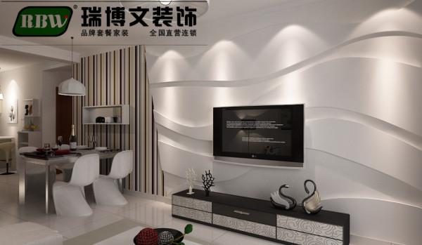 电视背景墙采用石膏板做曲线造型,时尚。