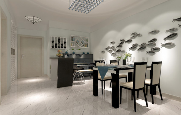 以宁缺毋滥为精髓,合理的简化居室,从简单舒适中体现生活的精致。餐厅背景采用金属鱼的穿插,体现立体性。小吧台的使用,使空间增加了灵活性。