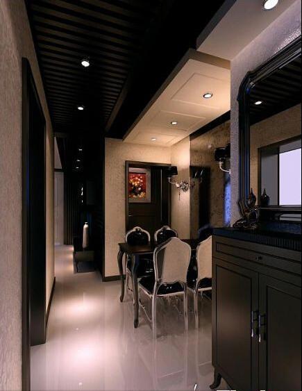 餐厅的走道吊顶采用黑色的线条装饰,一直延伸到客厅电视背景部分,形成整体,用顶面的造型划分出走道、餐厅的区域,让小空间产生层次感,各功能区域的空间更加明显。